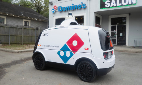Domino's robot pizza delivery vehicle.
